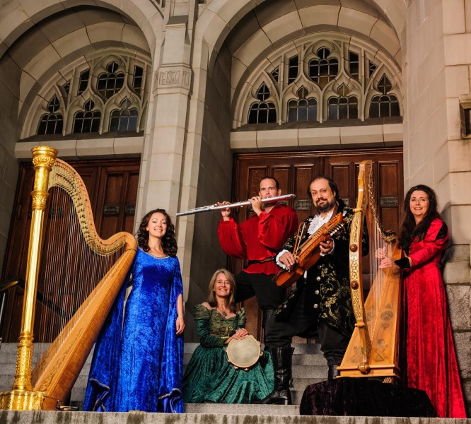 Winter Harp features (LtoR): Janelle Nadeau, Lauri Lyster, Jeff Pelletier, Joaquin Ayala, Lori Pappajohn. Not in photo: Kim Robertson, Krista Gibbard and Adam Henderson.