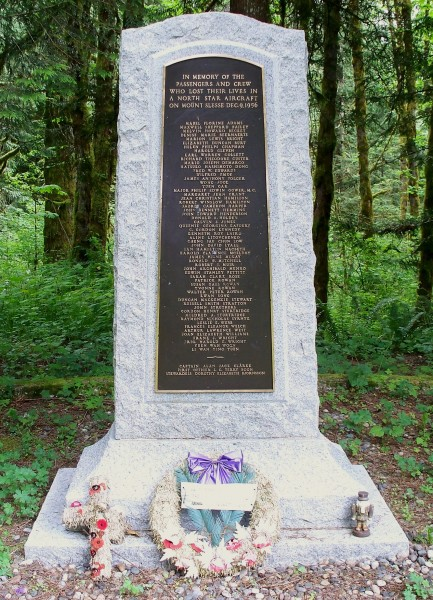 Memorial to the victims of Flight 810 on Mount Slesse.