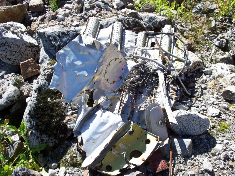 Debris from the crash of TC Flight 810 on Sleese Mountain.