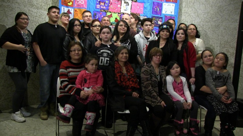 Winnipeg, Dec. 4, 2015: Families of some of Canada's missing and murdered indigenous women and girls gathered at the Winnipeg Art Gallery to unveil a quilt that commemorates their losses. Photo: Paul S. Graham