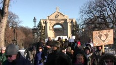 Winnipeg, Nov. 29: A thousand Winnipeggers walked from the St. Boniface Cathedral to the Forks to call for government action on climate change. Photo: Ken Harasym (from video)