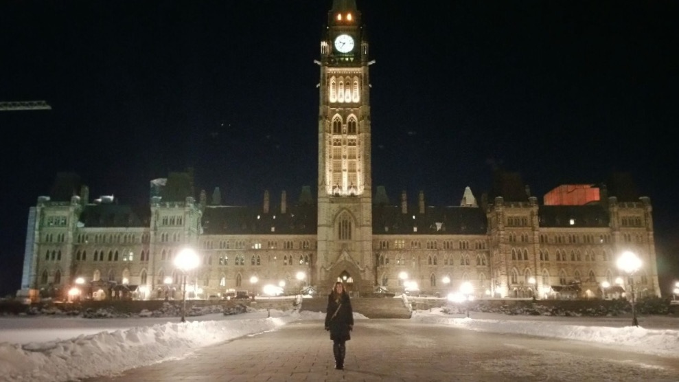 Mary Pidlaski in front of Centre Block on Parliament Hill.