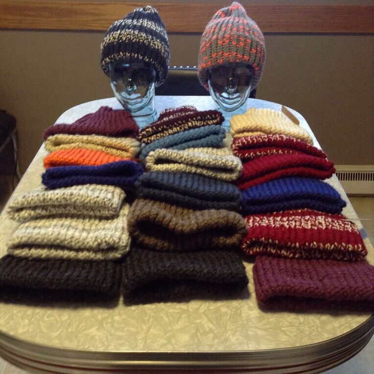 Some of toques that Cameron has knit.