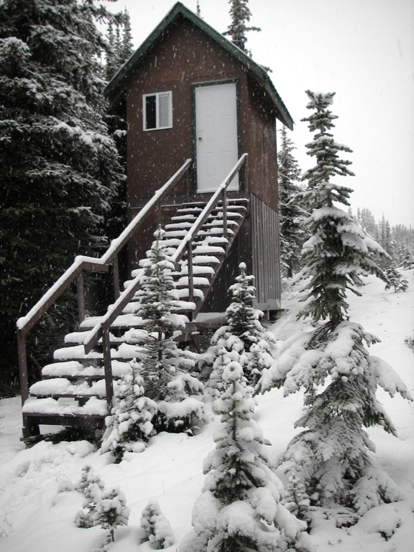 High-rise outhouse at Trophy Mountain Chalet. / GREG PETZOLD