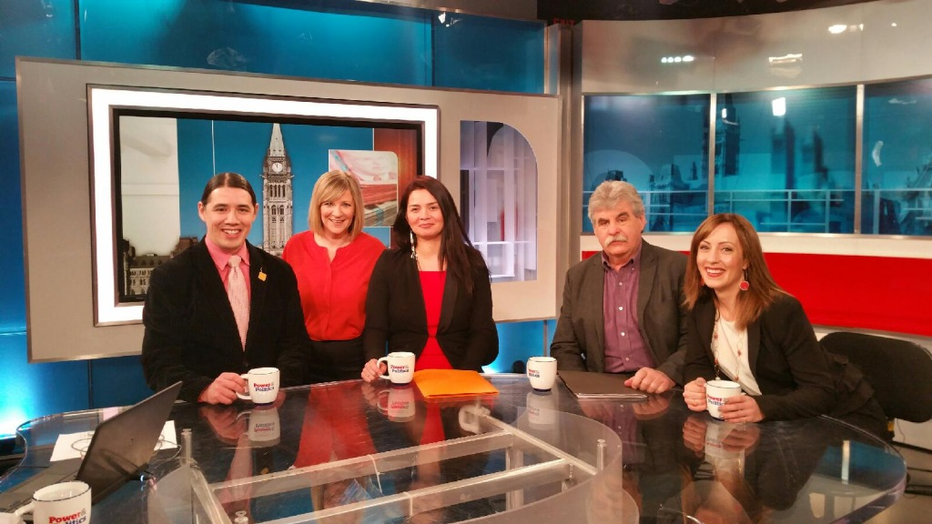 On the set of Power and Politics. LtoR: Robert-Falcon Oullette (Liberal MP), host Hannah Thibedeau, Vanessa Gamblin (Siloam Mission shelter manager), Richard Koss (Hunter Wire Products Ltd.) and Mary Pidlaski (Villa Rosa Inc. board member).
