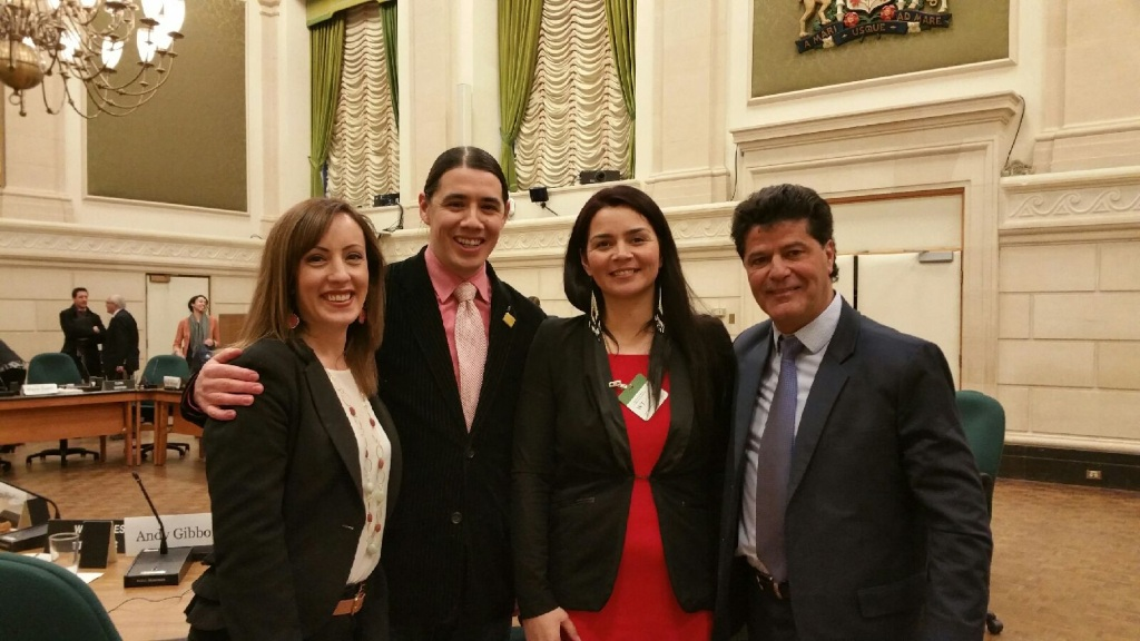 LtoR: Mary Pidlaski (Villa Rosa board member), Robert Falcon-Ouellette (Liberal MP), Vanessa Gamblin (Siloam Mission shelter manager) and Jerry Dias (National President of Unifor) following pre-budget consultation meeting.