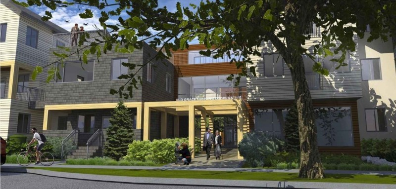 Artist's rendering of housing co-op's Arlington Street entrance.