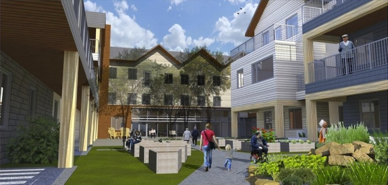 Artist's rendering of the courtyard at the housing co-op.