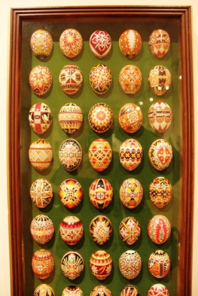 Some examples of traditional pysanka from the Wasylyshen collection are also on display
