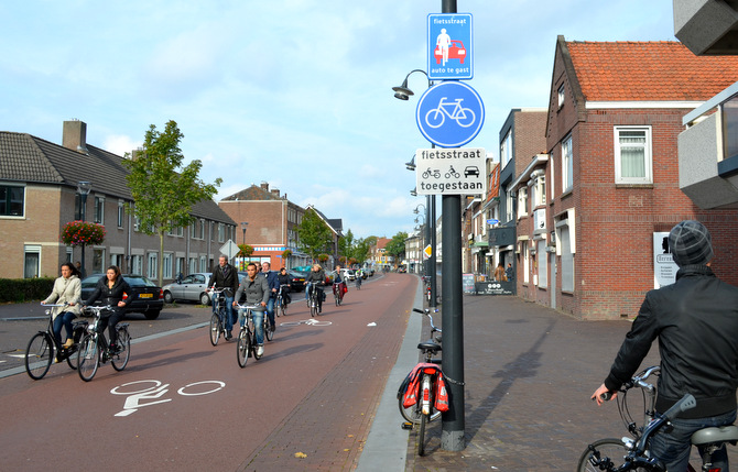 "A fietsstraat (bike street) in Holland where bicycles are main form of transport and cars are considered ""guests"". /JOHN TARANTINO"