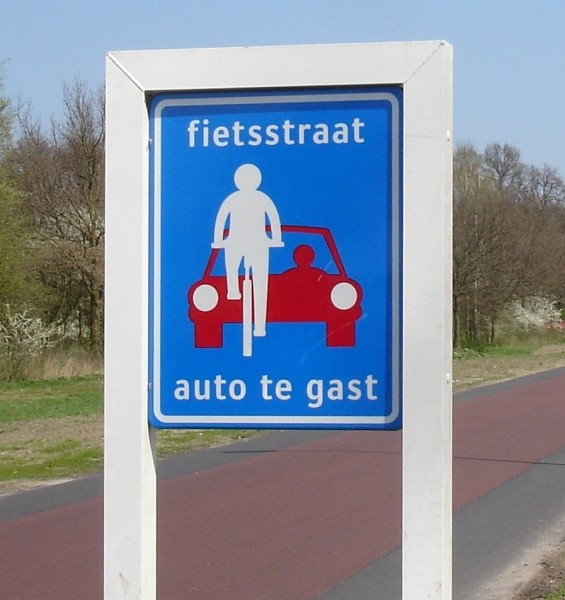 Where cyclists rule: Dutch road sign indicates priority for bike riders.