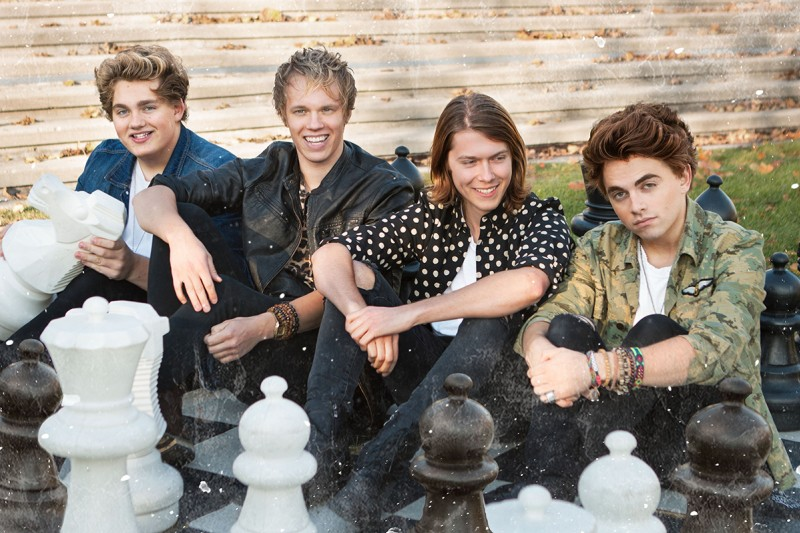 Panicland is (LtoR): Riley Jane (guitar), Ian Wilmer (bass), Kyle Fox (drums) and Braedon Jane (vocals, guitar).