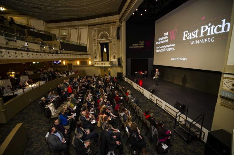 Winnipeg Foundation CEO Rick Frost introduces the evening to a sold out crowd at The Met. /DAVID LIPNOWSKI