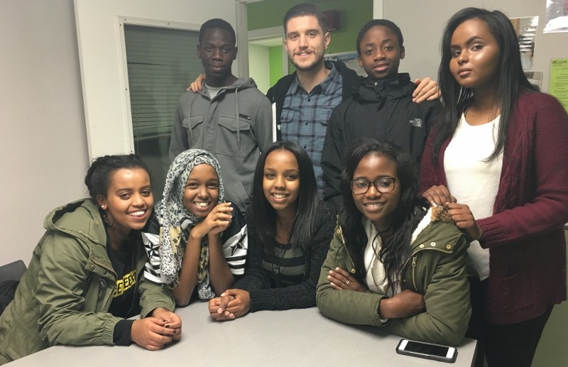 Bottom row (left to right): Misa Dayasa, Asha Abdi, Qaalitt Boru (staff advisor), Mariama Barry Top Row: Selestin Niyongabo, Marko Gjuric (Staff Advisor), Leblanc Meshe, Samia Amin.
