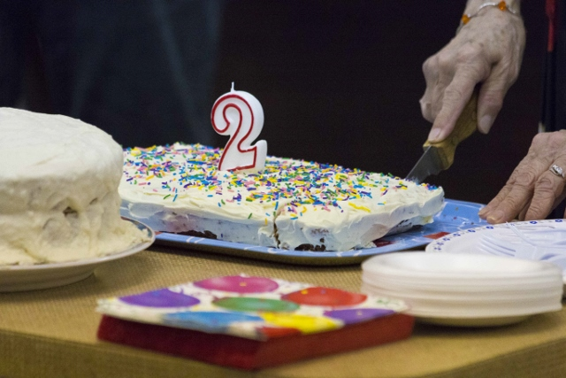Cake was served to celebrate Memory Mondays 2nd birthday. /JEFF SCHULTZ