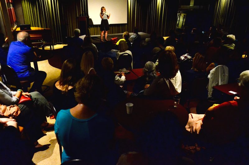 The venue was packed as Director Judith Morrow introduces her award winning documentary The Healing of Heather Garden last night