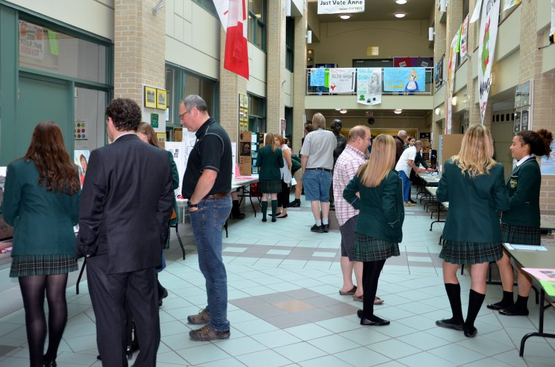 Members of Balmoral Hall School's community view Grade 10 Passion Projects on display May 18, 2016. PHOTO: Jennifer Pawluk