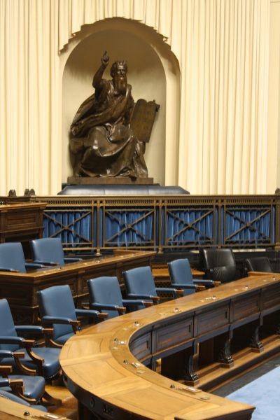 4045 - Moses watches over the empty PC party seats in Manitoba Legislative Building - tours were available during Doors Open Winnipeg this past weekend