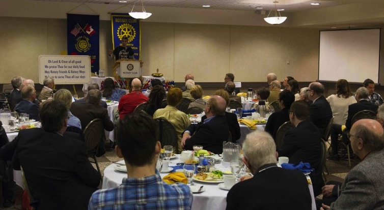 Michael Champagne addresses a group from the Rotary Club of Winnipeg, Manitoba at the Convention Centre.