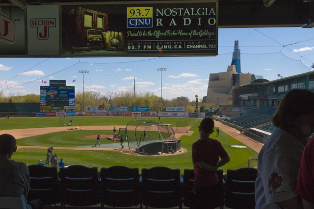Fans gather to watch the Goldeyes practice at this year's Open House held on Saturday. /JEFF SCHULTZ