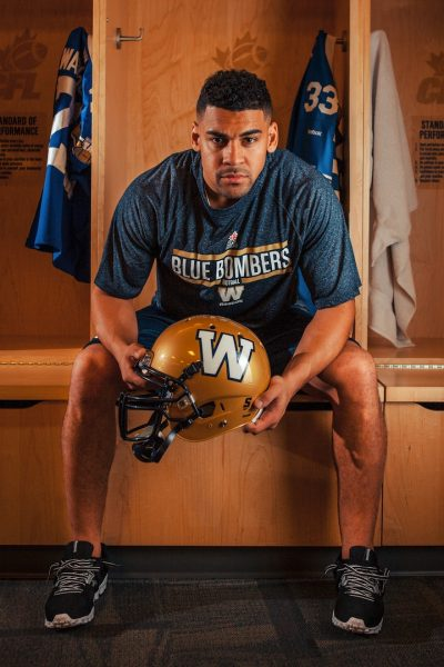 Local boy Andrew Harris in the Blue Bomber dressing room.
