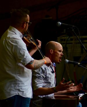 Dn Brown played fiddle while Nathan Rogers did some throat singing