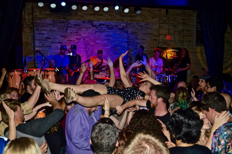 Crowd-surfing fans surfed the sea of funksters throughout the evening