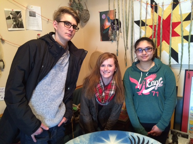 MBCI YiP memebers Nathan Schroeder, Jillian Fehr and Sahej Gill on a site visit to Indigenous Family Centre.