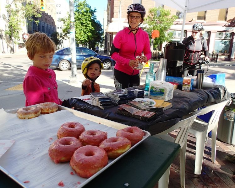It was bronuts and more at Old Market Square when Bike Week kicked off with a Drive-Thru Breakfast. /GREG PETZOLD