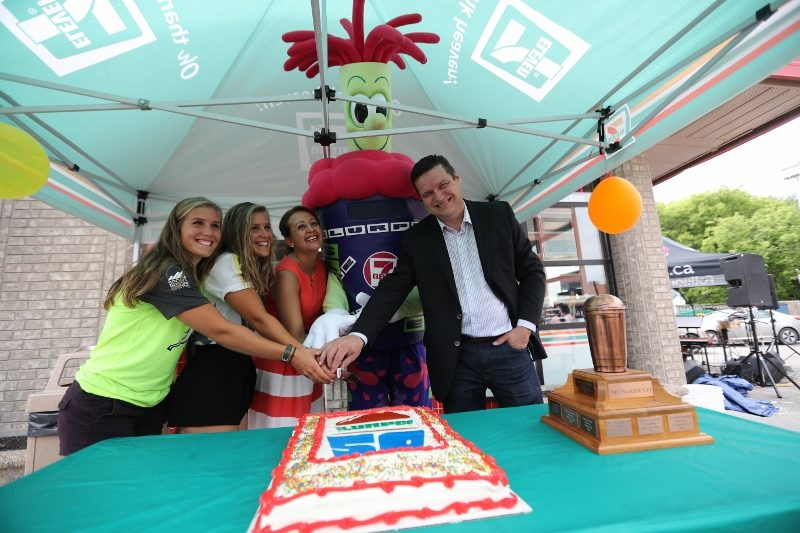 Enjoying this week's Slurpee celebrations were LtoR: the Paddington twins, Paula Araya-Alvarez, Market Manager 7-Eleven, Mr. Slurpee and James Teitsma, MLA Radisson.