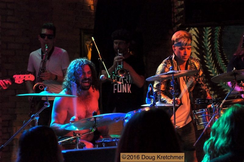 Two horns, two drums create powerhouse of rhythym and funk.