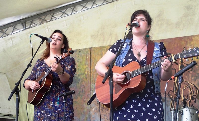 Naomi Shore and Lindsay Pratt are Twin Peaks, from Fort St. John: kicking off the first show on Bur Oak stage with harmonies and laughs. /GREG PETZOLD