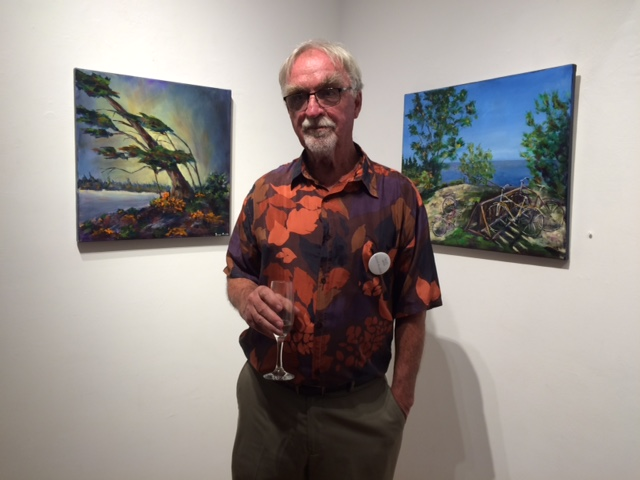 Bob Scurfield with some of his works.