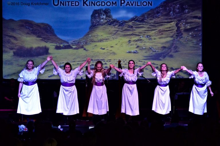 English maidens bowing after their performance