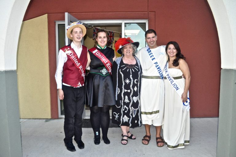 The Pearly Queen Jocelyn Grant with ambassadors from the United Kingdom and The Greek pavilions