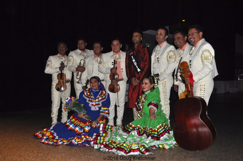 If they weren't busy playing music, the mariachi bands at Folklorama's Mexican Pavilion were posing for photos. /DOUG KRETCHMER