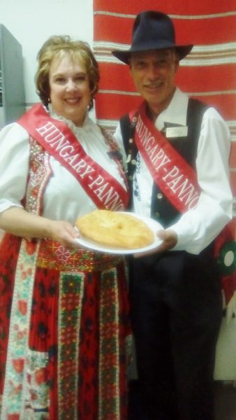 Hungary-Pannonia Ambassadors, Tibor and Rose Boda, with lángos. /ANNE HAWE
