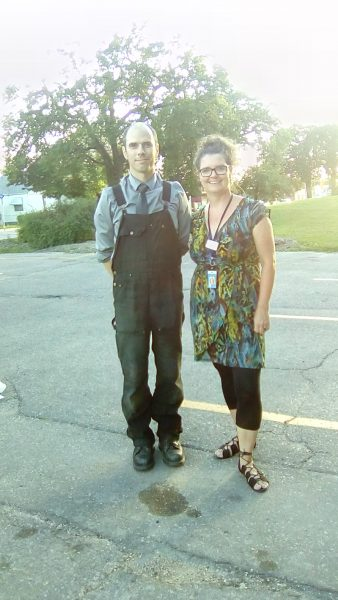 Librarian Kirsten Wurmann and Andrew Milne.