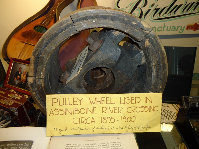 Pulley wheel of ferry once at banks flattened by buffalo crossing. /SHIRLEY KOWALCHUK