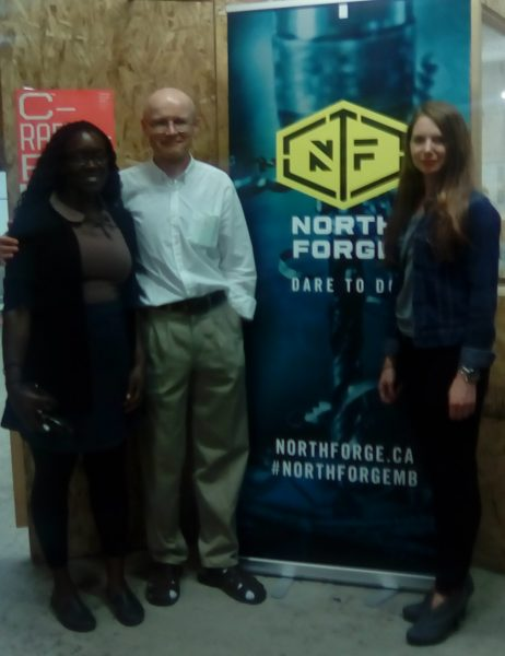Robert Elms, centre, with North Forge staff. /ANNE HAWE