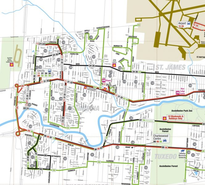 Winnipeg Transit routes on west Portage go no further than the Perimeter, leaving Iceplex visitors to walk 16 minutes from the last stop.