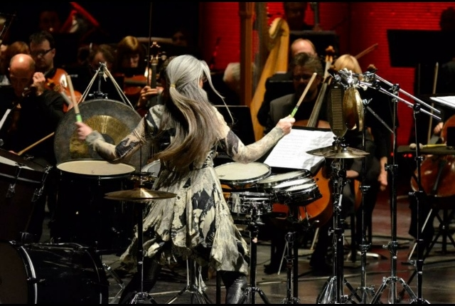 Dame Evelyn Glennie performing with WSO in 2013.