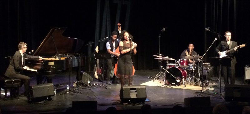 L to R: Josh Nelson (piano), Ben Williams (bass), Alicia Olatuja (vocals), Ulysses Owens, Jr. (drums), David Rosenthal (guitar). /ANNE MARTIN