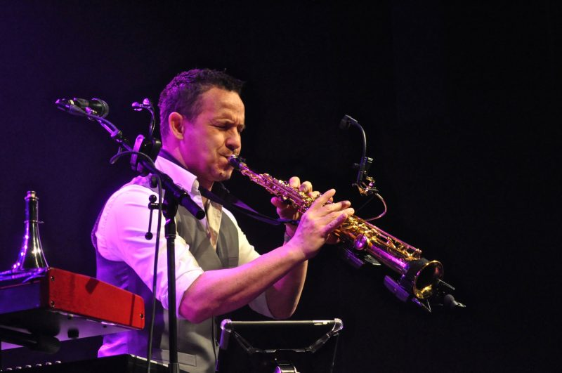 London, ON's Kevin Adamson played sax, harmonica, keys and penny whistle