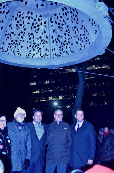 Mayor Brian Bowman was on hand to 'light up' the sculpture. /DOUG KRETCHMER