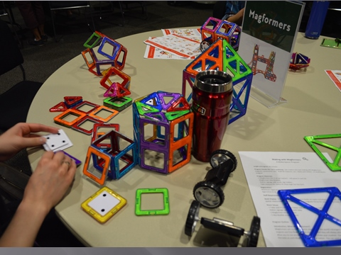 Magformers station at a Maker Faire.