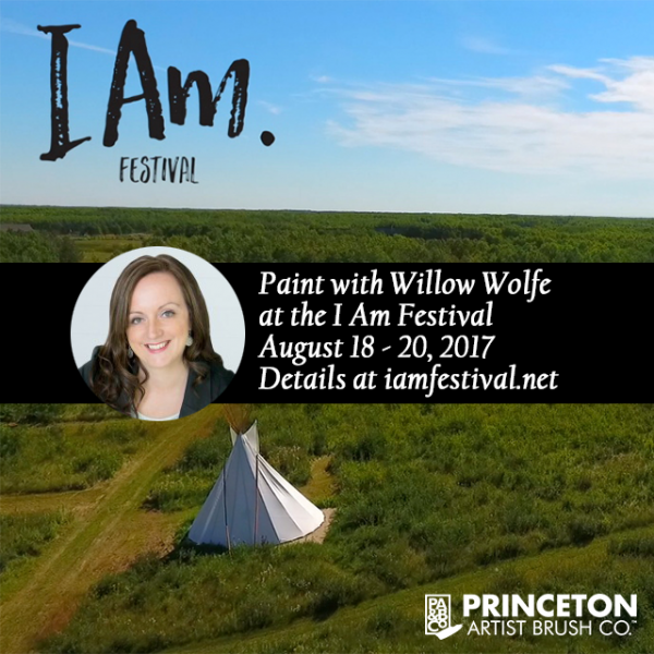 Willow Wolfe art classes at I Am Festival in rural Manitoba
