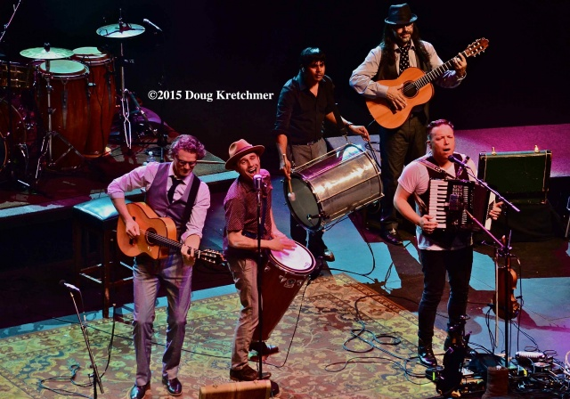 Jesse Cook (left) and his extremely talented band enthrall audience at the Burt on Wednesday night <br /><em> by Doug Kretchmer </em>
