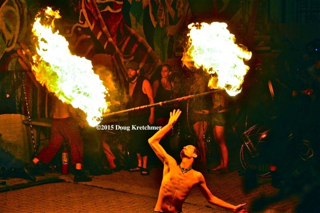 Fire Spinners dazzled the crowd at Osborne Street Festival on Canada Day. PHOTO by Doug Kretchmer