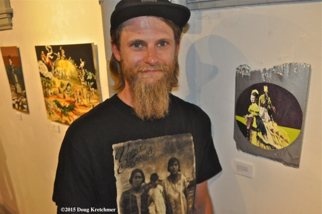 Artist Josh Kerschtein's opening reception was at Fleet Galleries last night. His art work will be exhibited along with Takashi Iwasaki's art til July 16. PHOTO by Doug Kretchmer